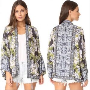 Free People Wildflower Cinched Kimono Jacket M/L Blue Green Floral